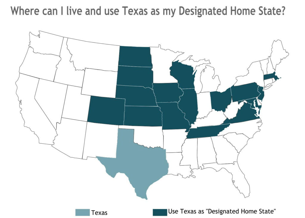 States That Accept Texas as a Dedicate Home State